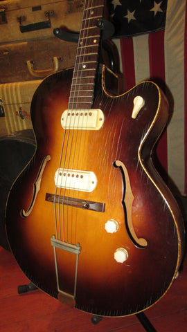 Vintage 1950's Gretsch Paramount Hollowbody Archtop Electric Guitar Sunburst Franz Pickups