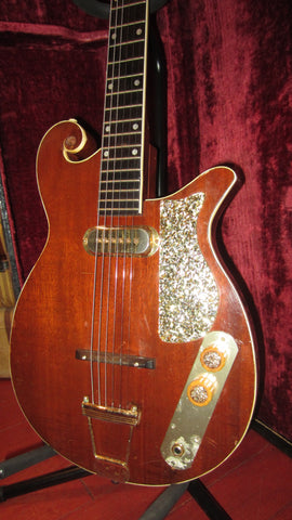 Vintage 1959 Premier Custom Solidbody Scroll Guitar Natural