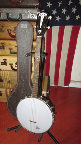 1964 Kay Tenor Four String Banjo White