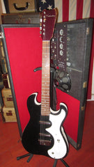 1963 Silvertone Model 1457 Amp In Case double pickup Black Sparkle