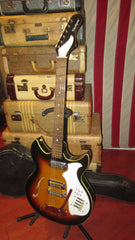 Vintage circa 1969 Harmony Rebel Semi-Hollow Body Electric Guitar Sunburst w/ Original Case