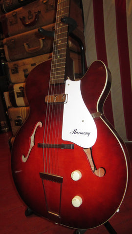Vintage 1965 Harmony Rocket Hollowbody Electric, Red