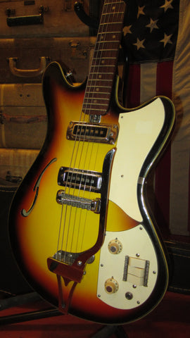 Vintage 1960's Teisco EP-10T Hollow Body Electric Guitar Sunburst w/ Original Case