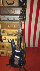 Vintage circa 1968 Guyatone LG-350T Sharp 5 Solidbody Electric Blue Sparkle Finish w/ Hardshell Case