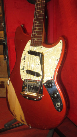 1969 Fender Mustang Competition Red w/ Matching Headstock Plays Great w/ Original Hard Case