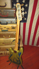 Vintage 1969 Fender Telecaster Bass Metallic Blue Flame Refinish w/ Gig Bag