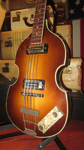 Vintage circa 1969 Hofner Model 500/1 Beatle Bass Sunburst w/ Hard Case