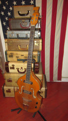 Vintage circa 1969 Teisco EKO Violin Bass Copy Natural Finish w/ Gig Bag