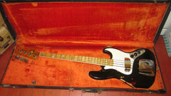 1974 Fender Jazz Bass Black Custom Color 4 Bolt Maple Neck With Blocks Killer!