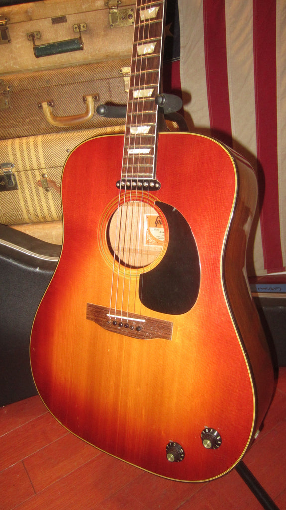 1974 Gibson J-160E Acoustic Electric Sunburst Plays Great with P-90 Pickup