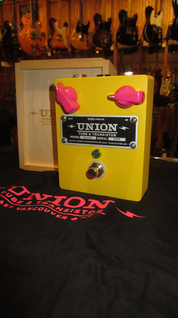 Pre-Owned circa 2016 Union Tube & Transistor Swindle Distortion Pedal Yellow w/ Original Box