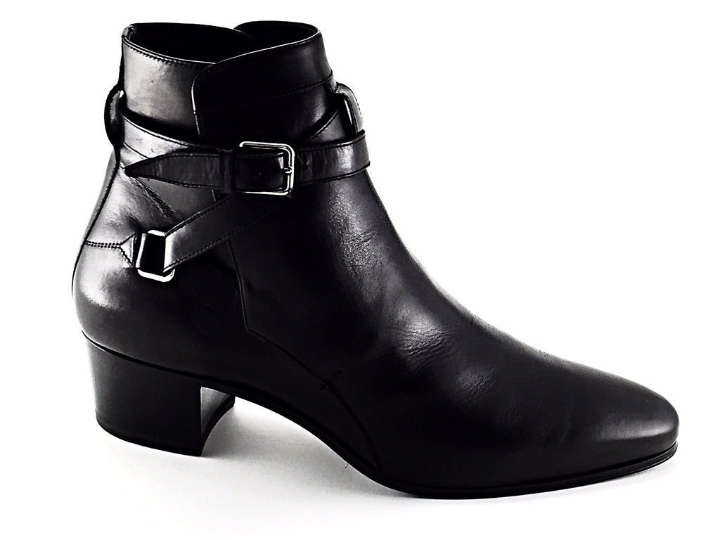 Amazing Saint Laurent Womens Black Amp Silver Embossed Western Paris Boots