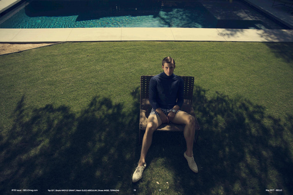 Justin Deeley for Bello Magazine wearing The Hoxton