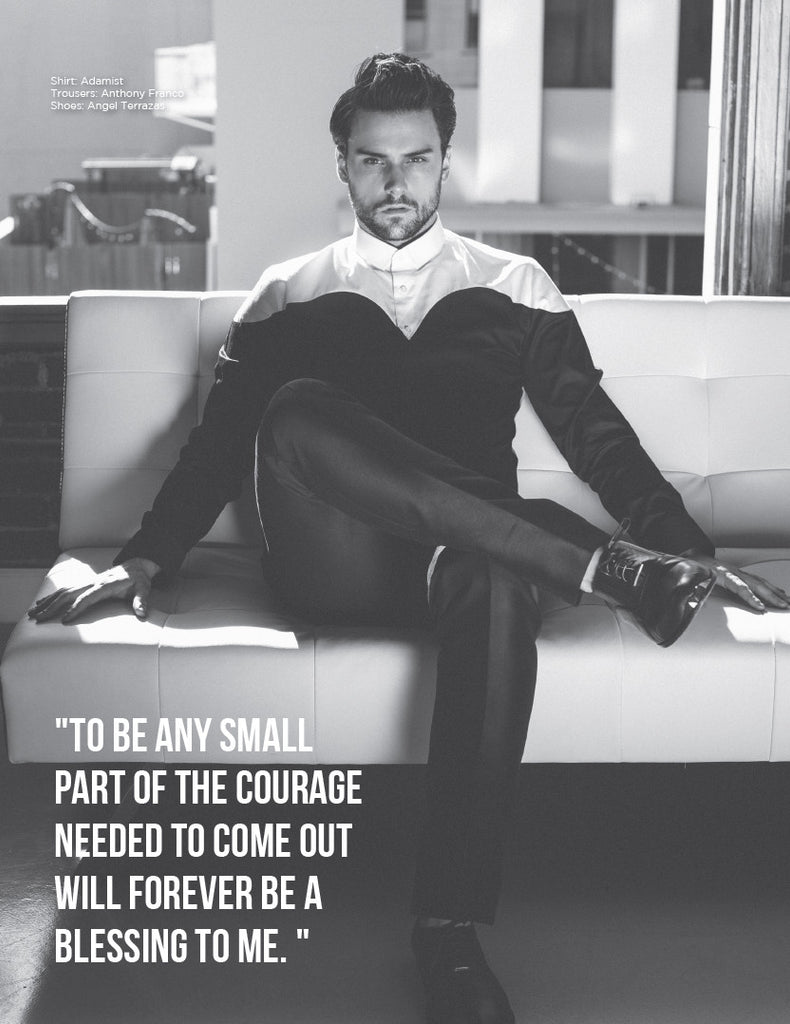 Jack Falahee for Fault Magazine wearing The Tycoon