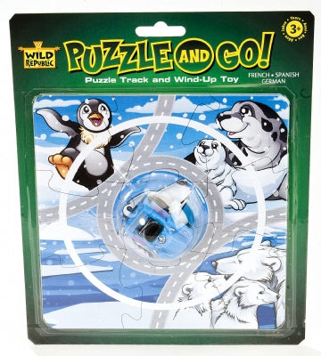 Wind-up Arctic Car on a Puzzle Track