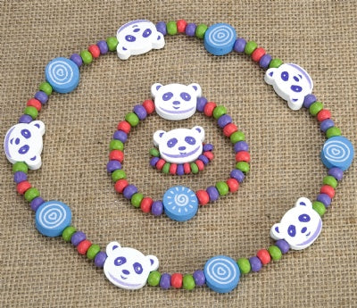 Kids Wooden Jewelry Set - Panda