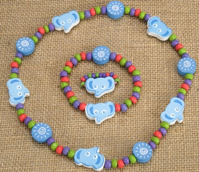 Kids Wooden Jewelry Set - Elephant