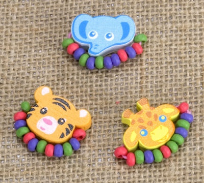 Kids Wooden Ring Set - Elephant, Tiger, Giraffe