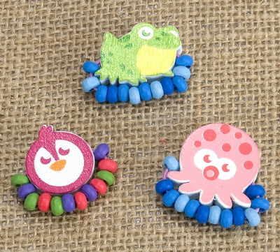 Kids Wooden Ring Set - Frog, Penguin, Octopus