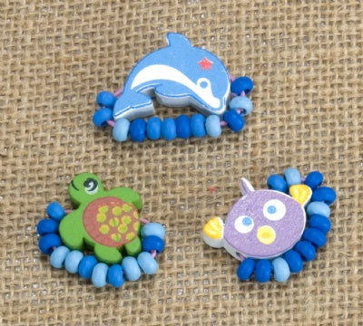 Kids Wooden Ring Set - Sea Turtle, Dolphin, Fish