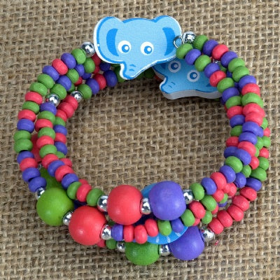 Kids Wooden Wrap Bracelet - Elephant