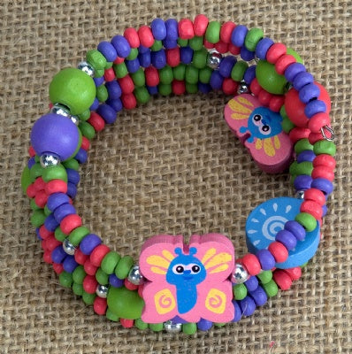 Kids Wooden Wrap Bracelet - Butterfly