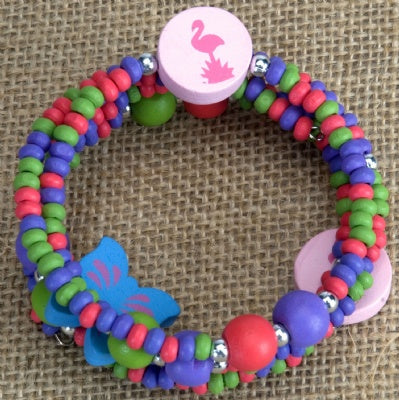 Kids Wooden Wrap Bracelet - Flamingo