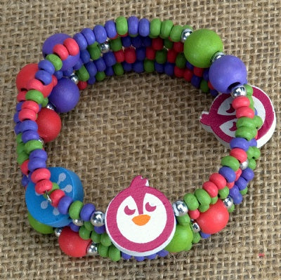 Kids Wooden Wrap Bracelet - Penguin
