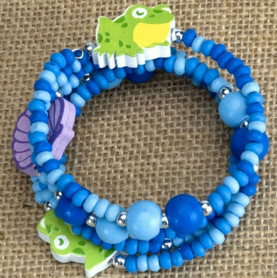 Kids Wooden Wrap Bracelet - Frog
