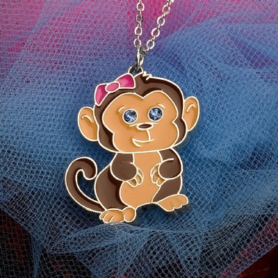 Kids Animal Pendant Necklace - Monkey