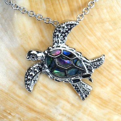 Paua Shell Necklace - Sea Turtle