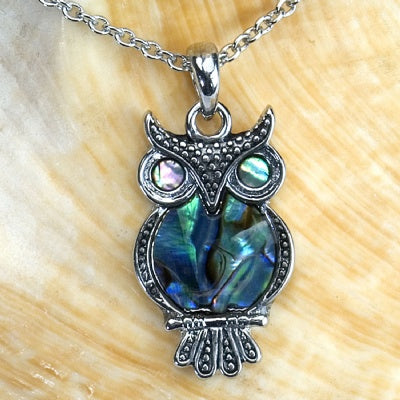 Paua Shell Necklace - Owl