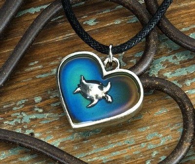 Mood Heart Necklaces - Sea Turtle