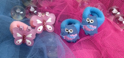 Kids Icon Hair Ties - Butterfly, Owl