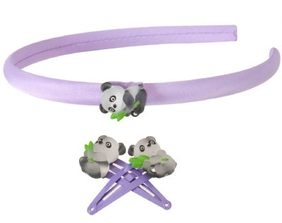 Kids Icon Animal Hair Band & Clips - Panda