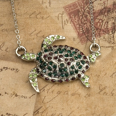 Rhinestone Chain Necklace - Sea Turtle