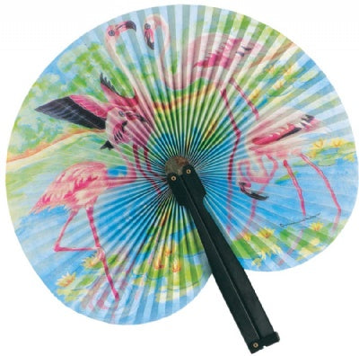 Flamingo Paper Fan (Plastic Handle)