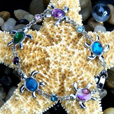 Paua Shell Bracelet - Sea Turtle