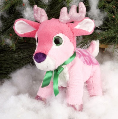 Pink Reindeer Stuffed Animal with Glitter Eyes