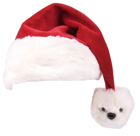Super Soft Polar Bear Santa Hat (Child Size)