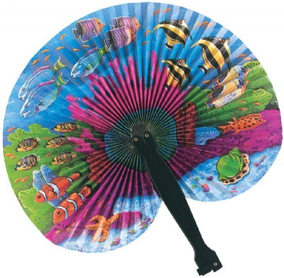 Coral Reef Paper Fan (Plastic Handle)