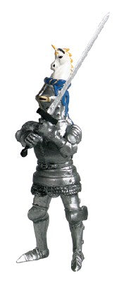 Knight with Sword & Blue Helmet with Unicorn
