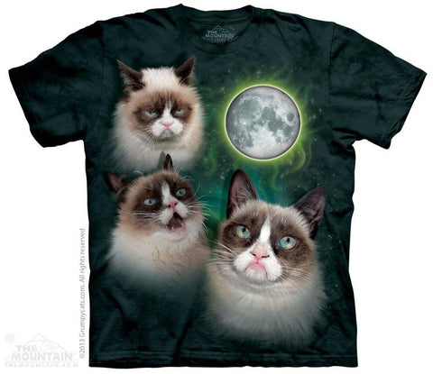 Three Grumpy Cat Moon T-Shirt