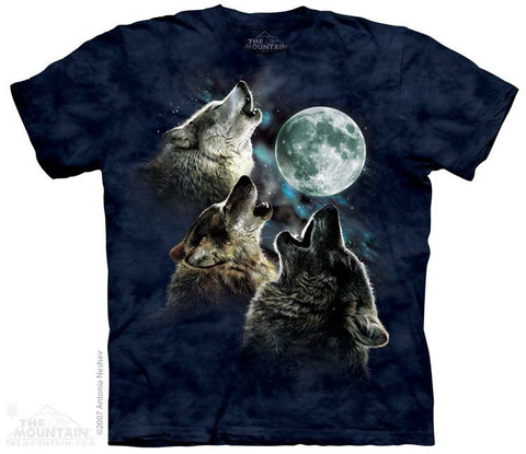 Three Wolf Moon in Blue T-Shirt