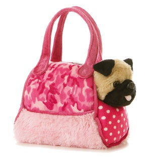 Fancy Pink Camo Pet Carrier with Plush Pug