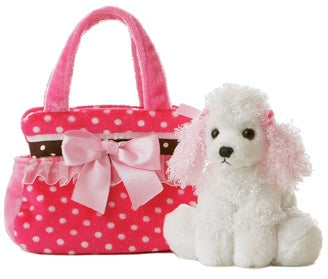 Fancy Pink Polka Dot Pet Carrier with Plush Poodle