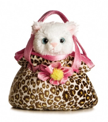 Leopard/Pink Pet Carrier with Plush Pretty Kitty