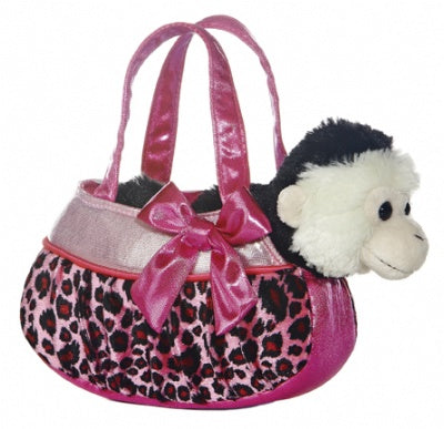 Blingy Pink Leopard Pet Carrier with Plush Monkey