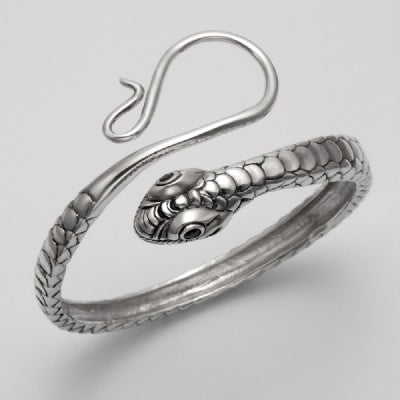 Snake with Garnet Eyes Bangle Bracelet
