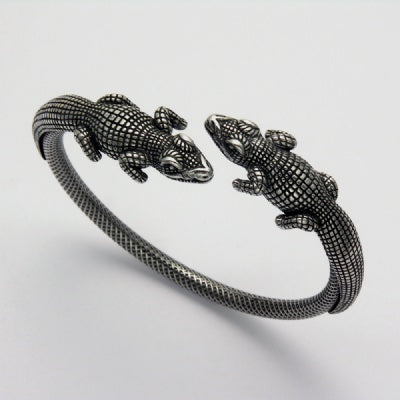 Two Alligator Bangle Bracelet